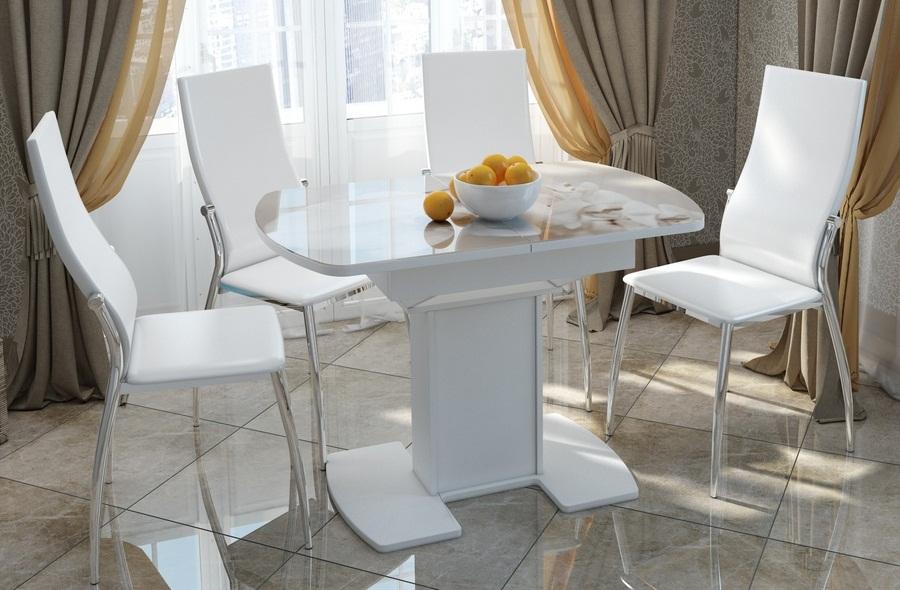 Стол стеклянный и металлические стулья, обеденная группа (арт. М5013)