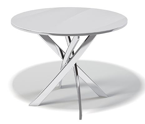 Белый круглый стол для кухни 100 см. стеклянный, хром (арт. М4253)