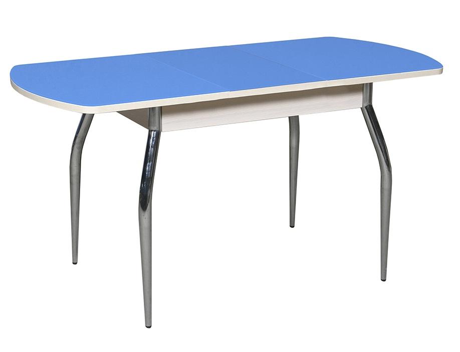Стол для кухни 120 см. цвет голубой, стеклянный, овальный (арт. М4229)