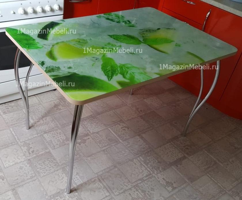 Стол 120 см. стеклянный не раздвижной зеленый принт (арт. М4317)
