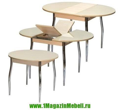 Стол бежевый Гала-3 беленый дуб песочное стекло (арт. М4145)