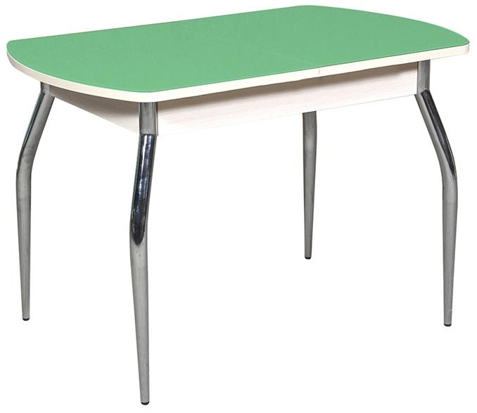 Стол зелёный стеклянный обеденный 110 см., раздвижной, хром (арт. М4226)