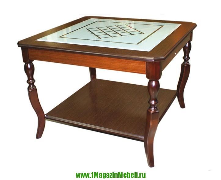 Деревянный журнальный стол со стеклом, Альт 25-31 (арт. М1029)