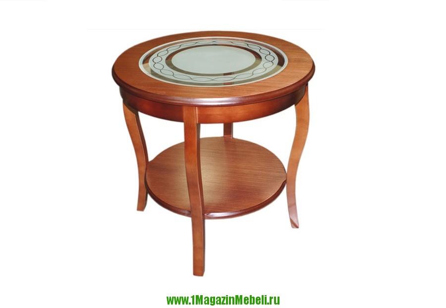 Круглый столик из дерева, вставка из стекла Альт 20-21 (арт. М1028)