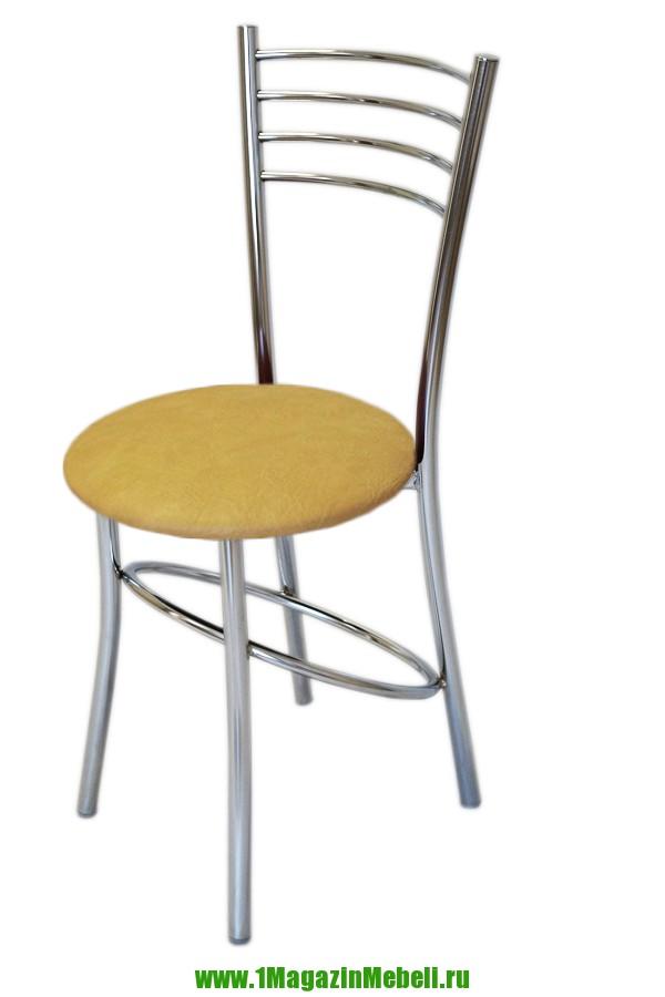Стул с круглым сидением для кухни, бежевый, хром (арт. М3197)