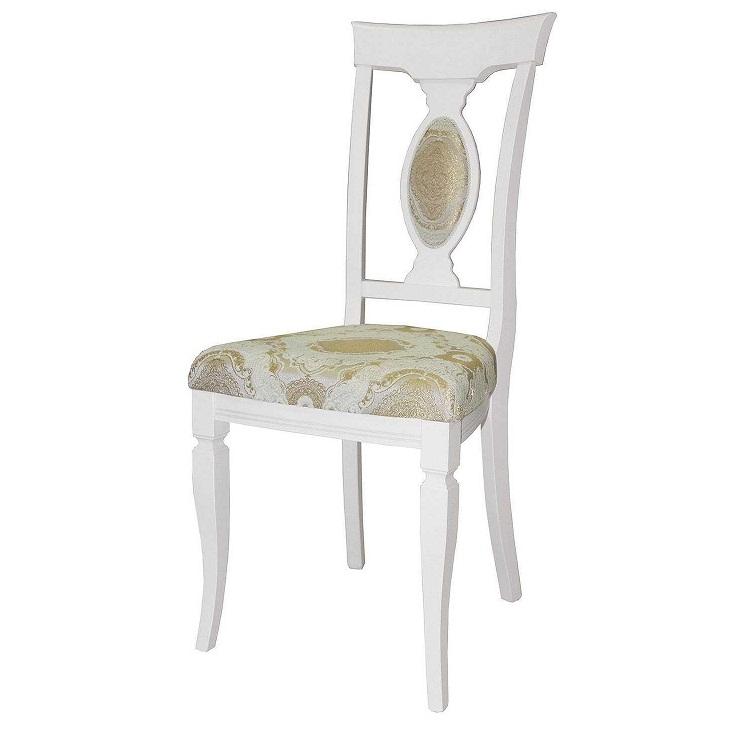 Белый деревянный стул для кухни, мягкий (арт. М3244)