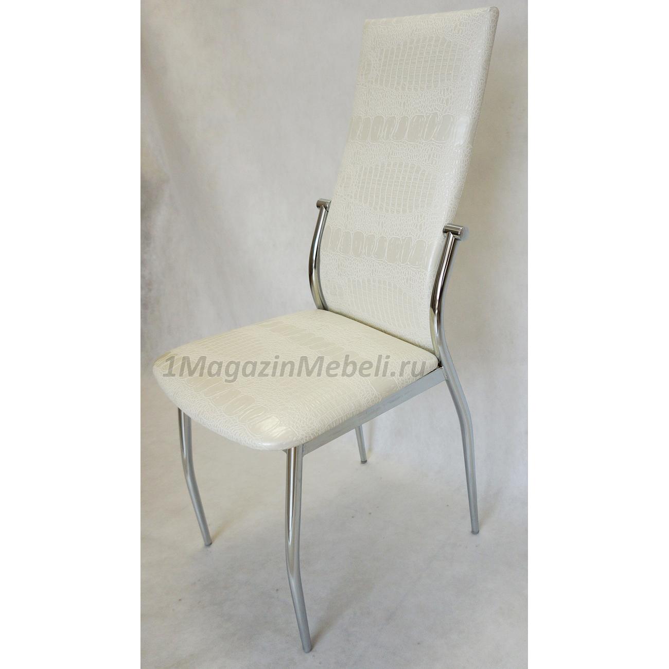 Удобный стул для кухни, металлический, белый аллигатор (арт. М3222)