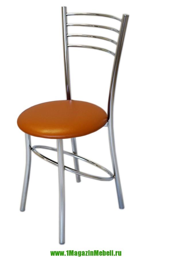 Стул кухонный металлический, оранжевый, хром (арт. М3191)