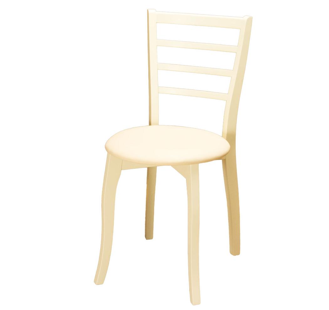 Деревянный стул для кухни, кож. зам, слоновая кость, ваниль, бежевый (арт. М3286)