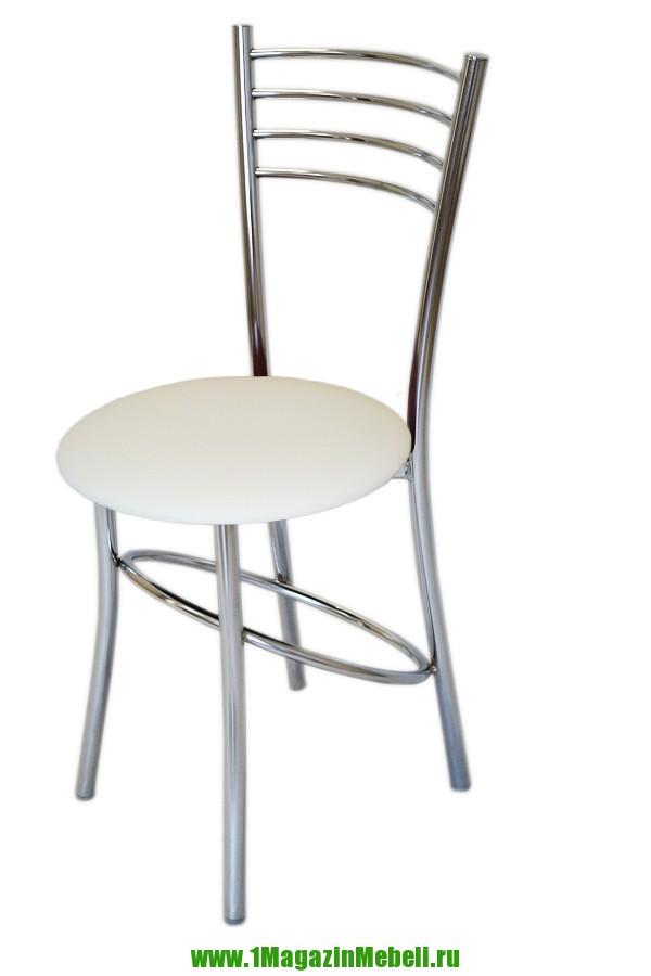 Стул для кухни с круглым сидением, белый, хром (арт. М3203)