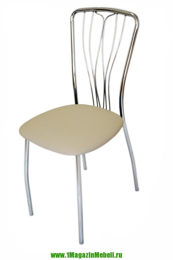 Бежевый стул для кухни, металлический, хром, кож.зам (арт. М3139)