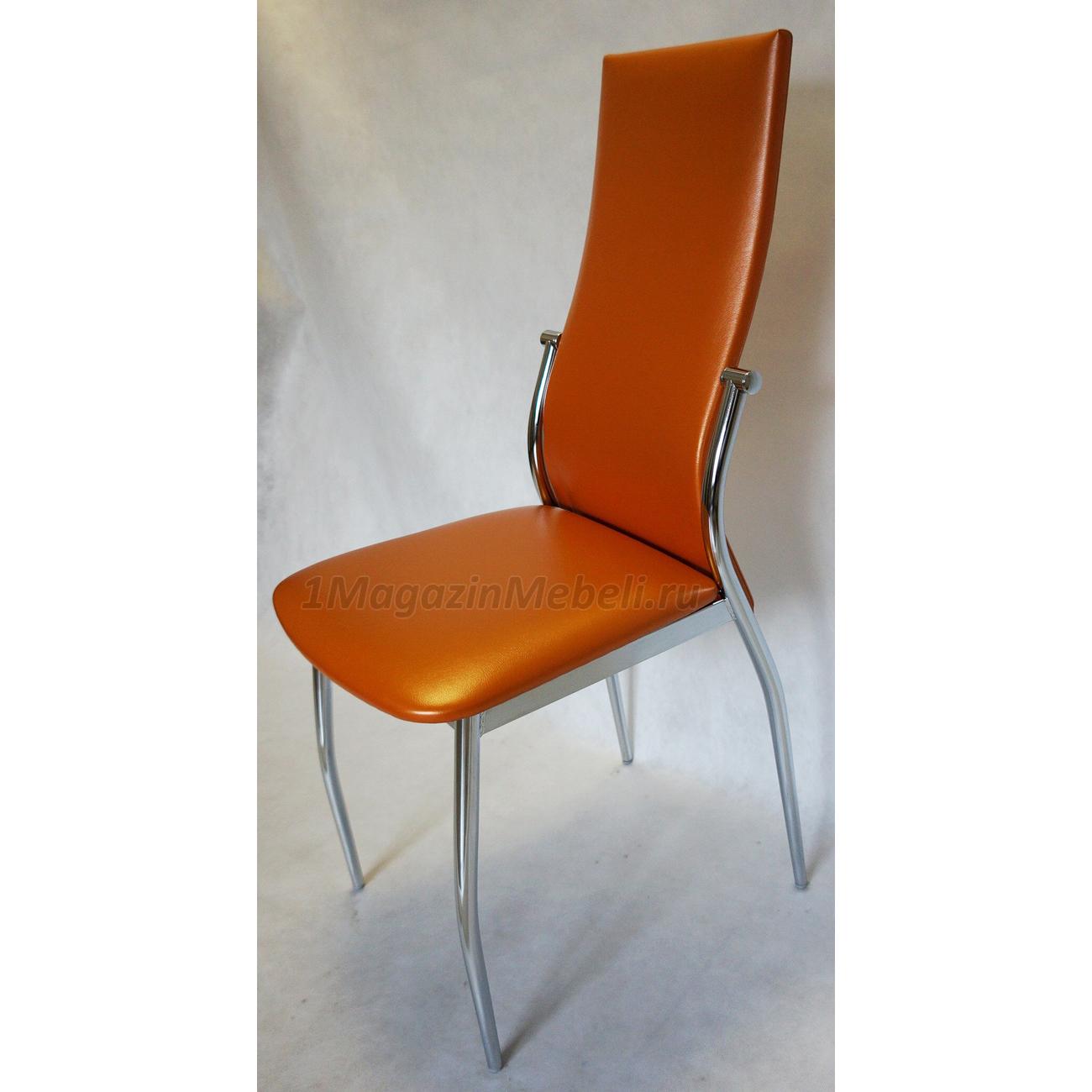 Оранжевый металлический кухонный стул с удобной спинкой (арт. М3219)