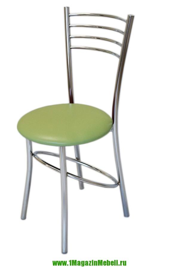 Салатовый металлический стул для кухни, хром (арт. М3192)