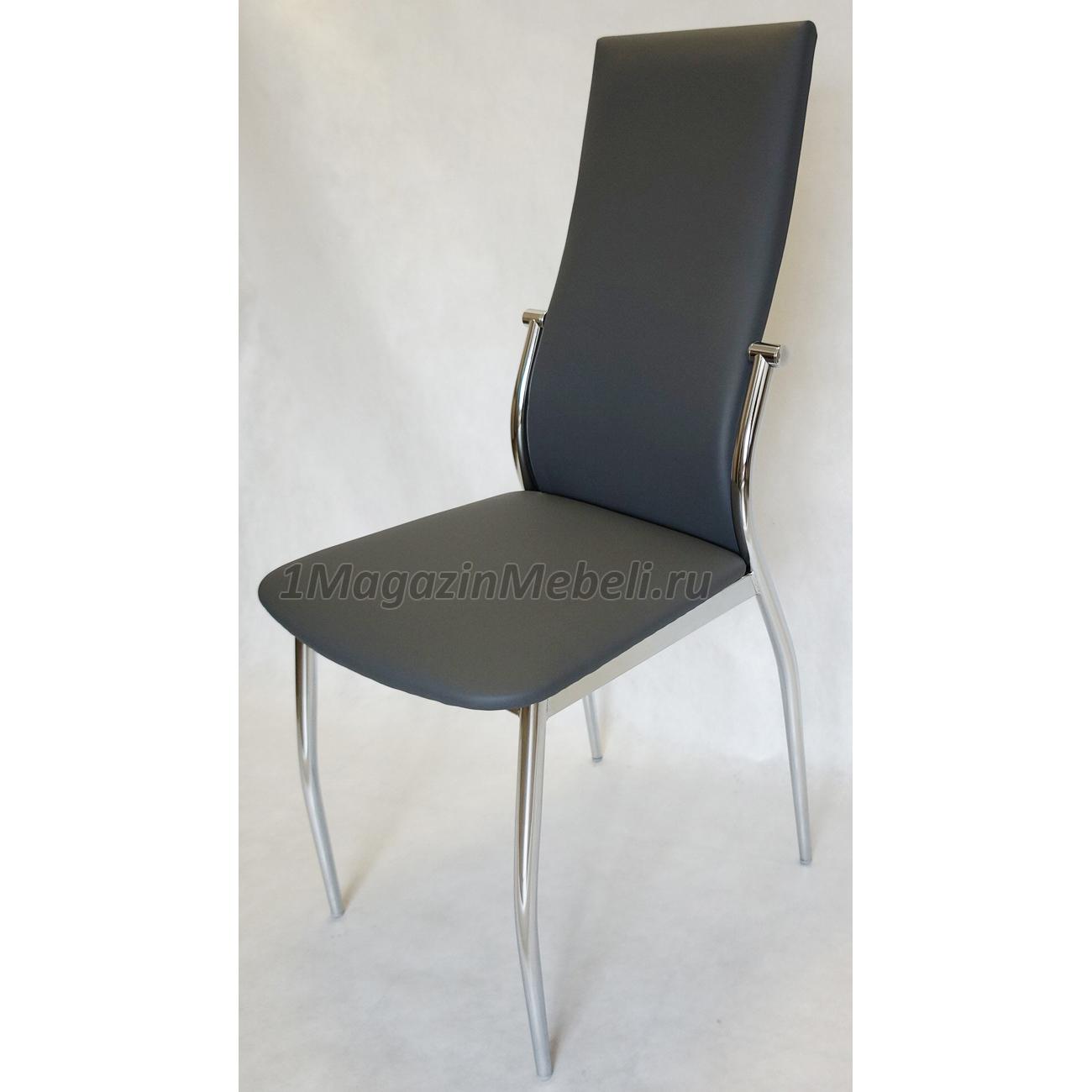 Стул для кухни цвет серый, с мягкой спинкой, хром Комфорт (арт. М3226)