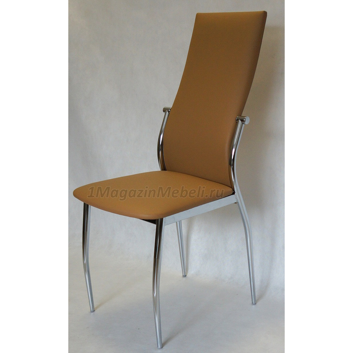 Светло-коричневый стул для кухни, металлический эко-кожа (арт. М3227)