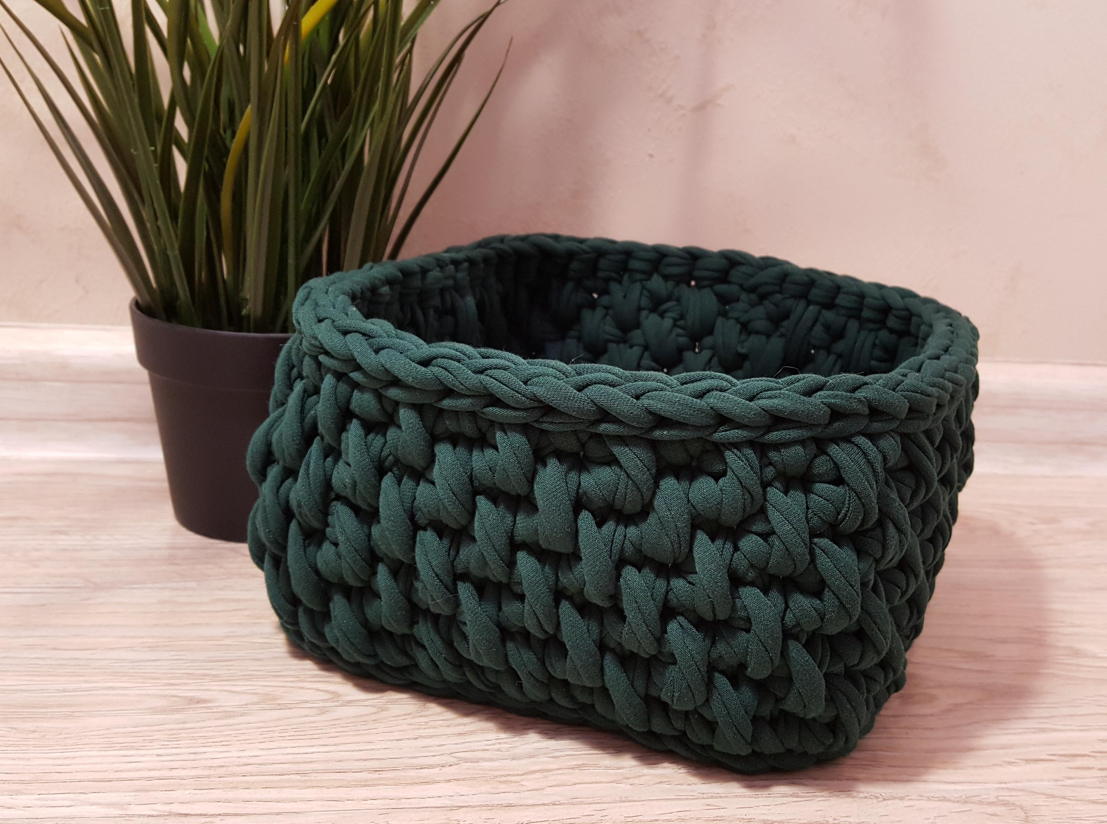 Трикотажная корзина для вещей темно-зеленая (арт. М407)