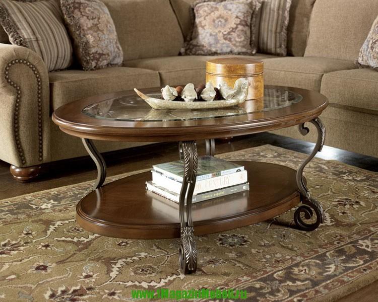 Журнальный столик Т517-0 со стеклом, овальный, деревянный (арт. М1044)