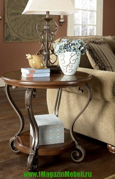 Стол журнальный T517-6 круглый, цвет орех, дерево металл (арт. М1074)