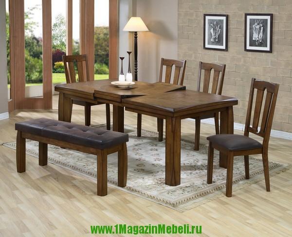 Большой обеденный стол, деревянный, В4278, раскладной (арт. М4053)