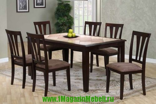 Крепкий, надежный, стол на массивных ножках, Т 9212, плитка (арт. М4057)
