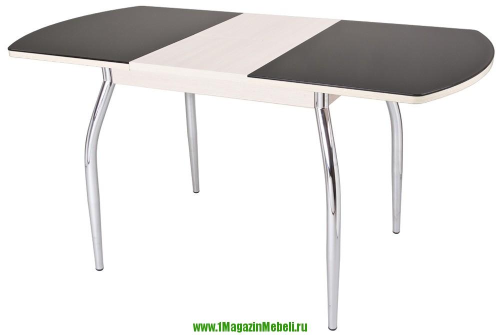 Обеденный раздвижной стол из стекла, ножки хром, Гала (арт. М4083)
